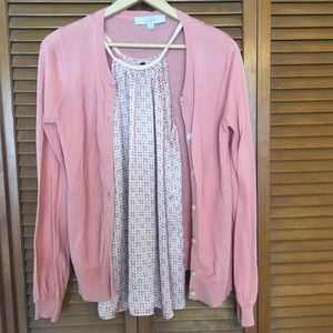 Loft Peach Pink Cardigan with Patterned Tank Top